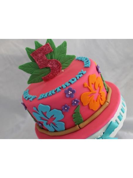 Macaroons Hawaiian Themed Birthday Cake For A Little Girl Turning 5